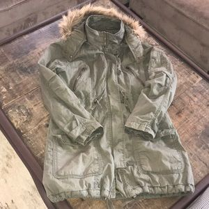 FOREVER 21 Lined Utility Jacket Faux Fur Hood